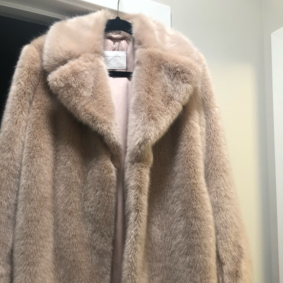 f9dd341a Zara Jackets & Coats | Blush Pink Faux Fur Lapel Coat | Poshmark
